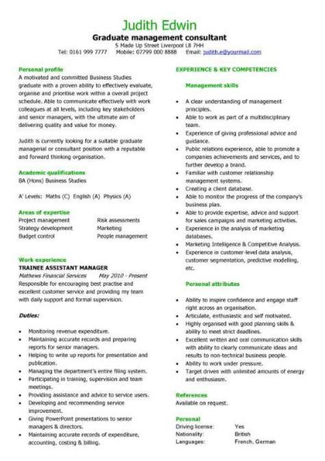 Resume Creation Guide by Graduate Management Consultant Cv Sle Team Leader Cv