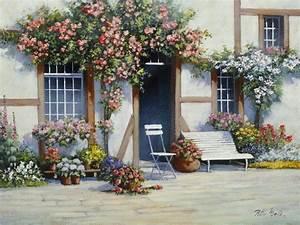 Garten Blumen Bilder : artland poster leinwandbild haus topf landschaften garten blumen malerei online kaufen otto ~ Whattoseeinmadrid.com Haus und Dekorationen