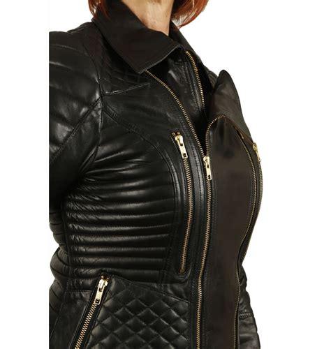 ladies designer style quilted black leather biker jacket