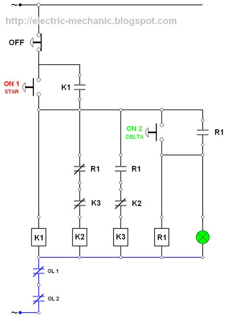 rangkaian kontaktor star delta manual