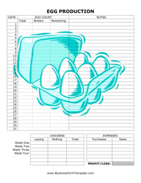 detailed egg production record template