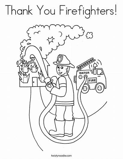 Coloring Thank Pages Firefighter Fire Fireman Firefighters