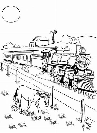 Train Coloring Pages Steam Railroad Horse Freight