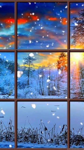 winter window snow scene   living wallpapers