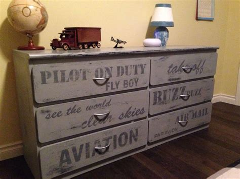 aviation themed painted grey dresser boys rustic