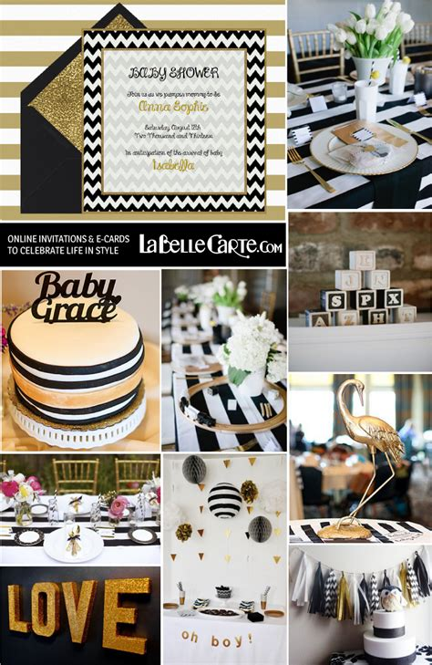 Black And Gold Baby Shower by Chic Baby Shower In Black White Gold