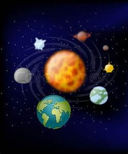 Planets of solar system. Moon and Earth. Jupiter and Mars ...