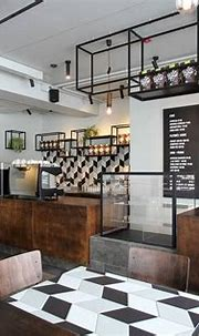 Industrial style coffee store Wooden color cafe shop ...