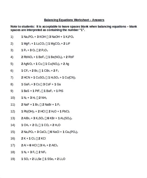 10+ Balancing Equations Worksheet Templates  Sample Templates