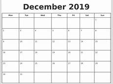 December 2019 Print A Calendar