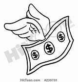 Dollar Bill Coloring Clipart Flying Wings Outline Clip Cash Sign Money Pages Outlined Vector Business Drawing Printable Clipartpanda Drawings Transparent sketch template