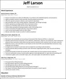Bank Of America Teller Resume Sle by Teller Resume Template Free Resume Templates