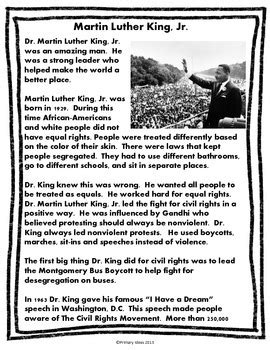 martin luther king jr close reading  comprehension
