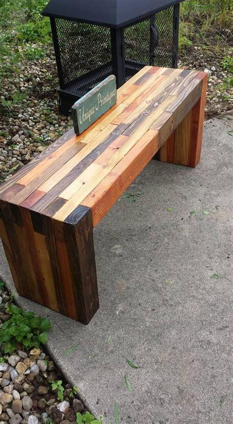 reclaimed pallet wood rustic bench  unique primtiques