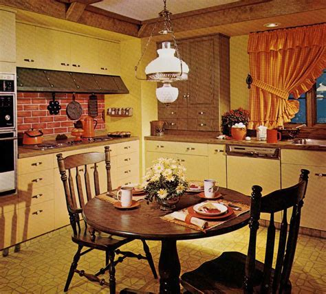 1970s kitchen design   one harvest gold kitchen decorated