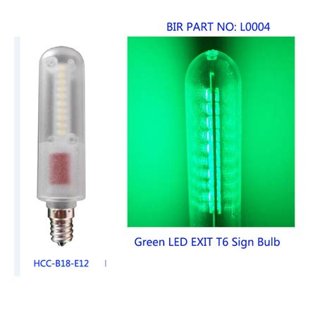 green 0 6w e12 emergency exit sign led bulb light t6 e12