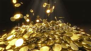 Slow motion coins falling stock video. Illustration of ...