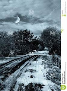 Winter Landscape In The Night Royalty Free Stock ...