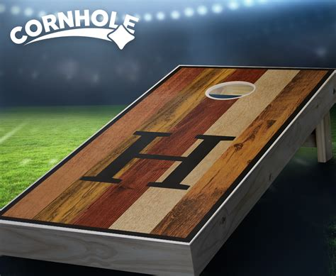 multicolored monogram dark stained cornhole boards product details cornholecom