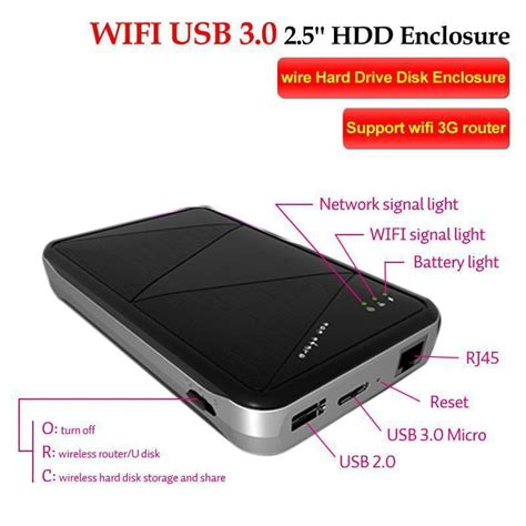 Wireless Wifi Usb 3.0 2.5'' Hdd Enclosure /Wire External