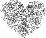 Coloring Pages Adults Hearts Heart Flower sketch template