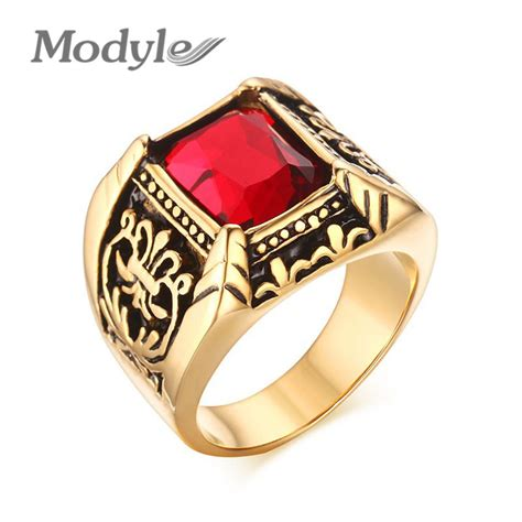 modyle punk rock men ring gold plated stainless steel