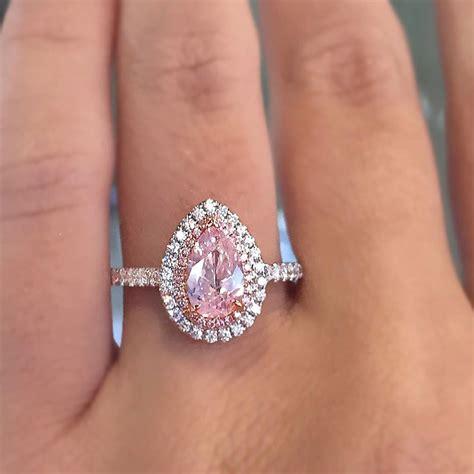 18k white gold pink pearshape diamond engagement ring