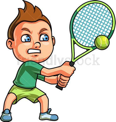 boy playing tennis cartoon clipart vector friendlystock