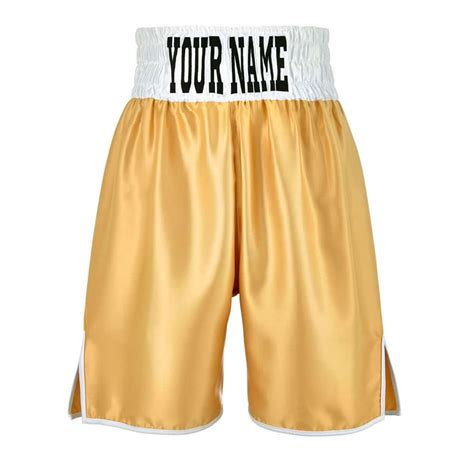 gold boxing shorts with white waist band fully customisable