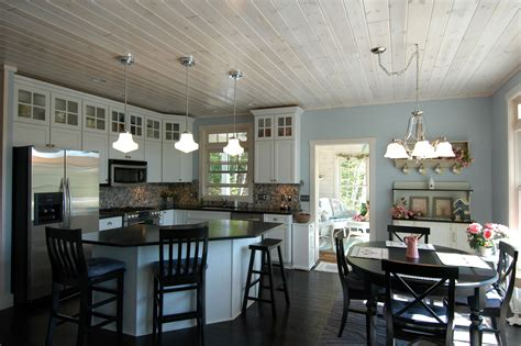 white washed pine ceiling   contemporary kitchen