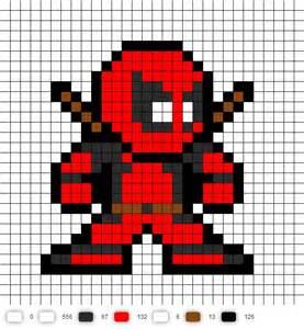 Deadpool Pixel Art Grid