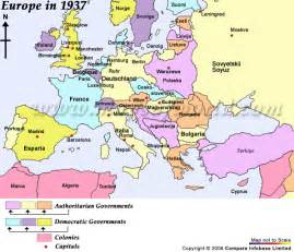 World War 2 Map of Europe with Capitals
