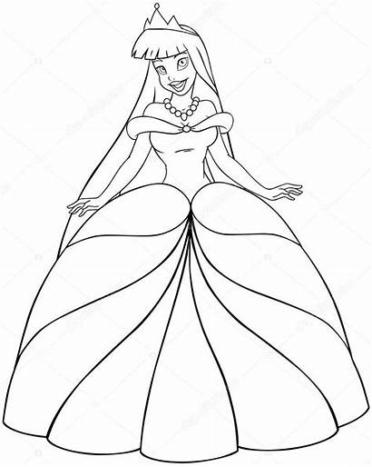 Princess Coloring Asian Vector Illustration Pages Template