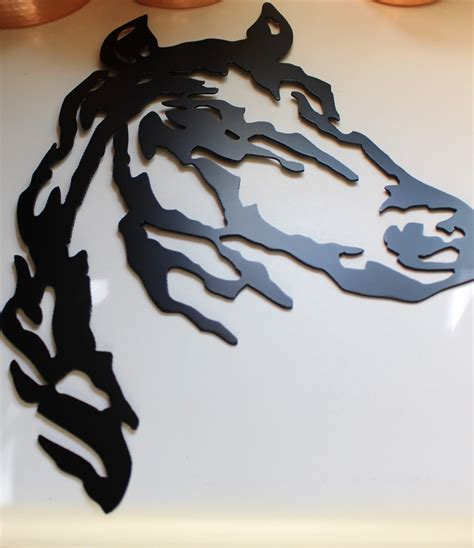 Unique gift panel wood with black metal element. Horse Head Black Metal Wall Art Western Decor