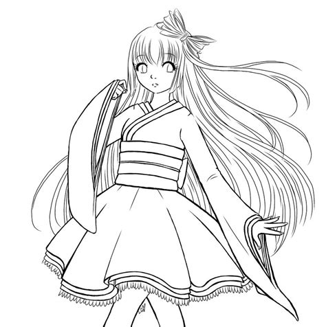 Coloring Hair Anime by Mobile Hair Anime Coloring Pages
