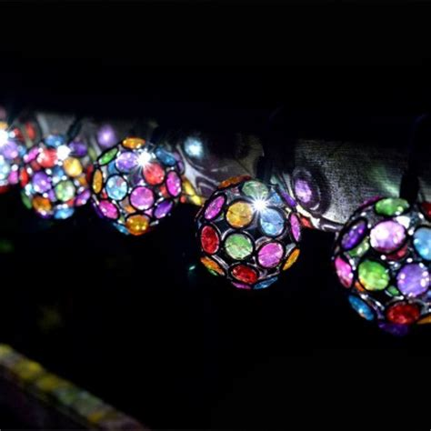 solar multi coloured glow gem string lights