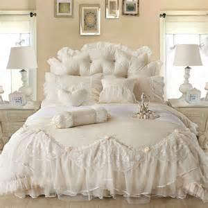 6pc luxury princess jacquard lace ruffles 100 cotton duvet cover bedding set ebay