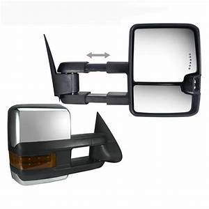 2x Power Clearance Turn Signal Lamp Chrome Towing Mirror