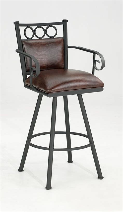 Cushioned Bar Stools With Arms by Vermont Swivel Bar Stool With Arms Alligator Brown Padded