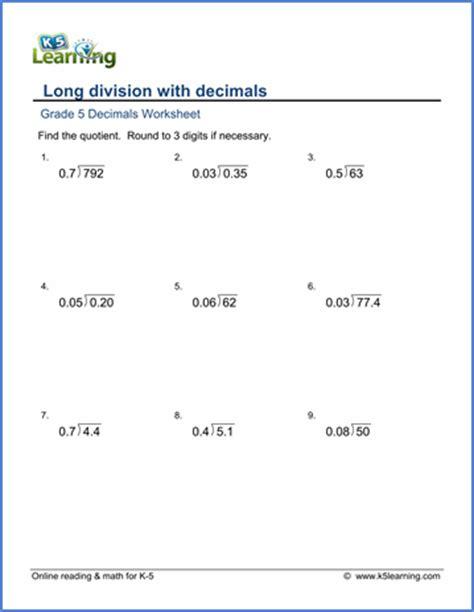 grade 5 math worksheet decimal division k5 learning