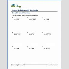 Grade 5 Math Worksheet Decimal Long Division  K5 Learning