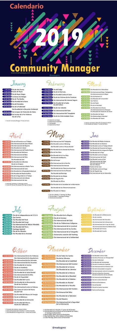 calendario del community manager plantilla gratis