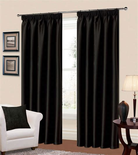Bedroom Curtains Pencil Pleat by Plain Black Colour Thermal Blackout Readymade Bedroom