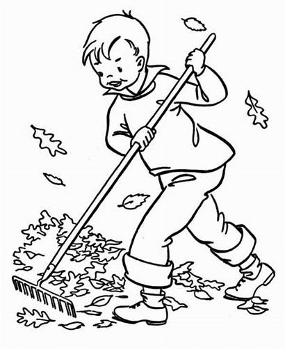 Coloring Clean Boy Cleaning Pages Autumn Leaf