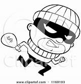 Clipart Running Burglar Cartoon Coloring Looking Cash Carrying Money Bank Robbers Thief Sack Robber Clip Robbery Thoman Cory Pages Case sketch template