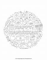 Hanukkah Happy Coloring Pages Pdf Printable Primarygames sketch template