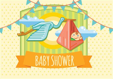 Baby Shower Flying In The Sky With Bird Vector Invitation