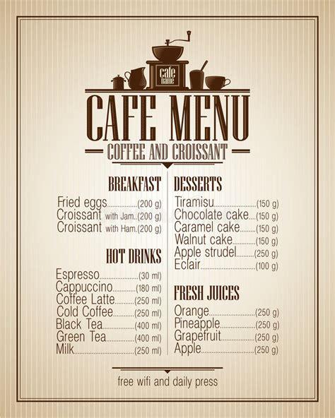 cafe menu list  dishes  retro design stock