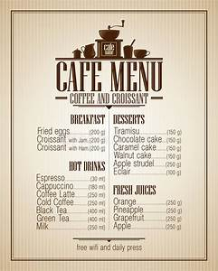 Cafe Menu List With Dishes Name, Retro Design. Stock ...