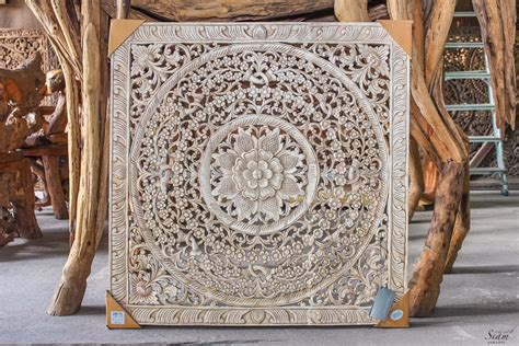 large bali or thai carved wood wall art panel by siamsawadee